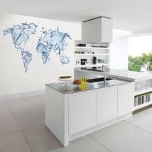 Carta da parati mappa del mondo spruzzi d'acqua