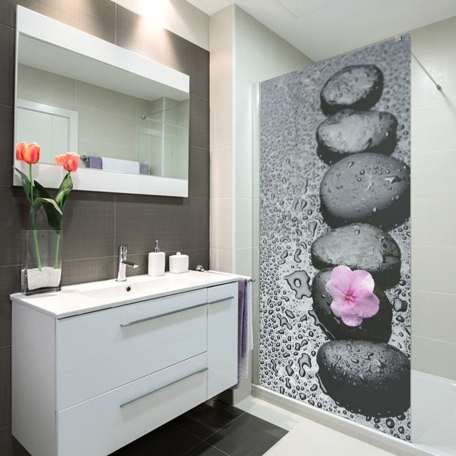 Vinile decorativo schermi da bagno pietra zen