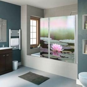 Vinile per schermi doccia fiori papaveri
