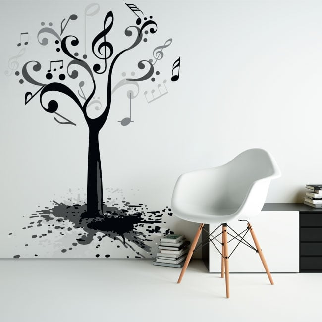 Vinile e adesivi albero con note musicali