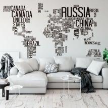 Vinile e adesivi mappa del mondo di testo