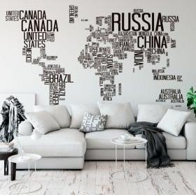 Vinile decorativo e adesivi mappa del mondo tracce