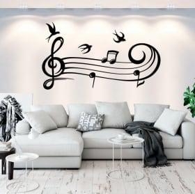 Vinile decorativo pentagramma musicale e uccelli