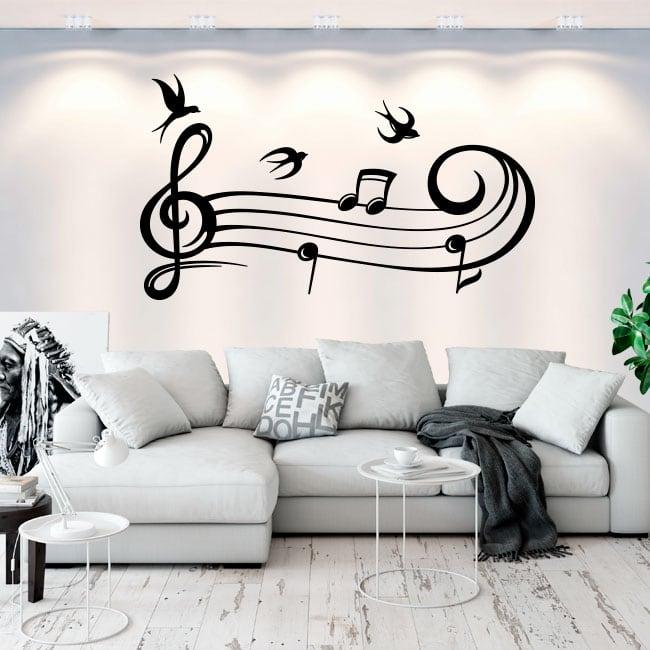 Vinile e adesivi pentagramma musicale e rondini