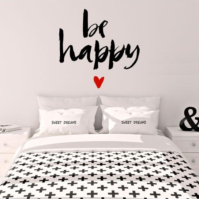 Vinile e adesivi frase be happy