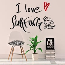 Vinile decorativo frasi i love surfing