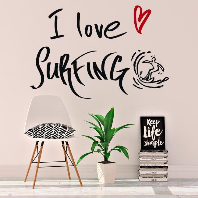 Vinile decorativo frasi i love surfing