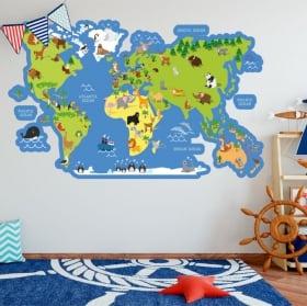 Vinili e adesivi per bambini mappa del mondo con animali