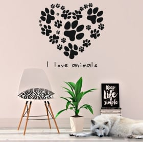 Vinile e adesivi frase i love animals