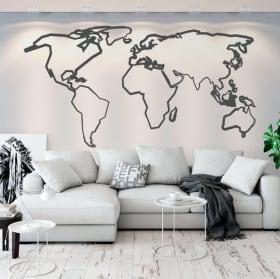 Vinile e adesivi mappa del mondo tracce