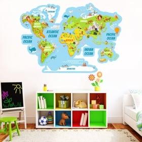 Adesivi in vinile mappa del mondo con animali