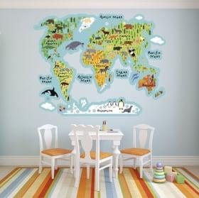 Vinili mappa del mondo con animali
