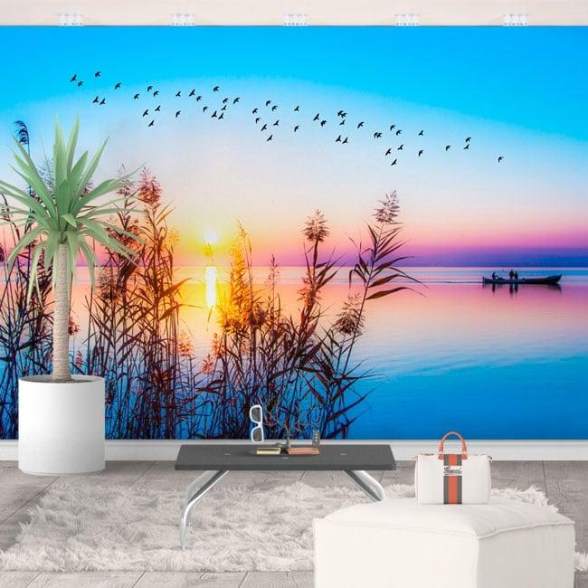 Vinili murali alba sul lago