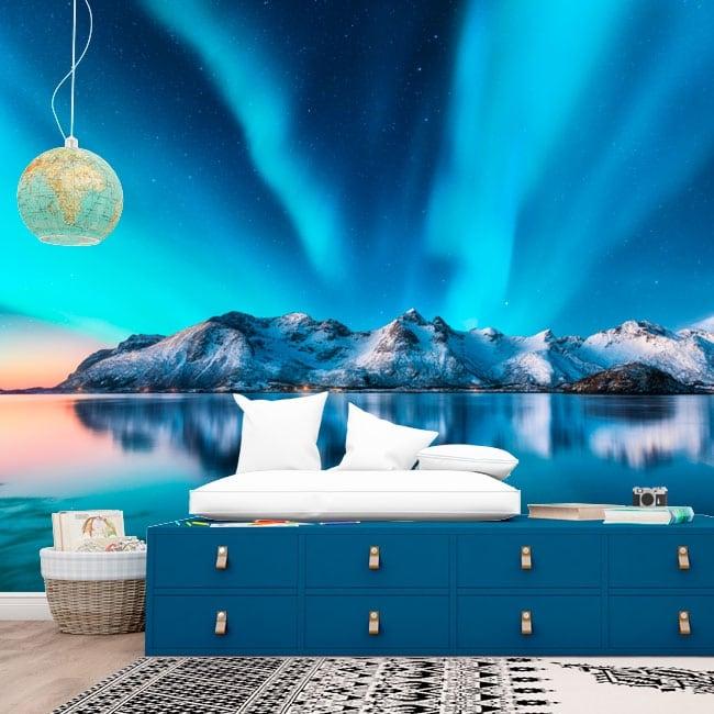 Murales in vinile aurora boreale norvegia