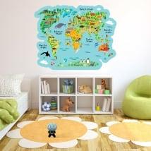 Vinili e adesivi mappa del mondo con animali per bambini