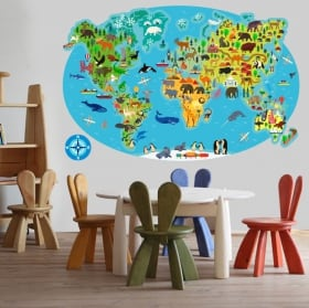 Vinili e adesivi mappa del mondo animale