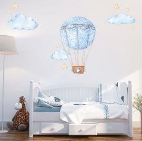 Adesivi in vinile palloncino con nuvole e stelle