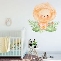 Vinili e adesivi per neonati leone con fiori