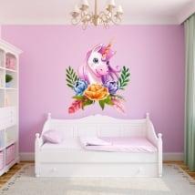 Vinili e adesivi per bambini unicorno dell'acquerello