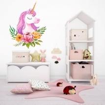 Vinile per bambini o giovani unicorno dell'acquerello