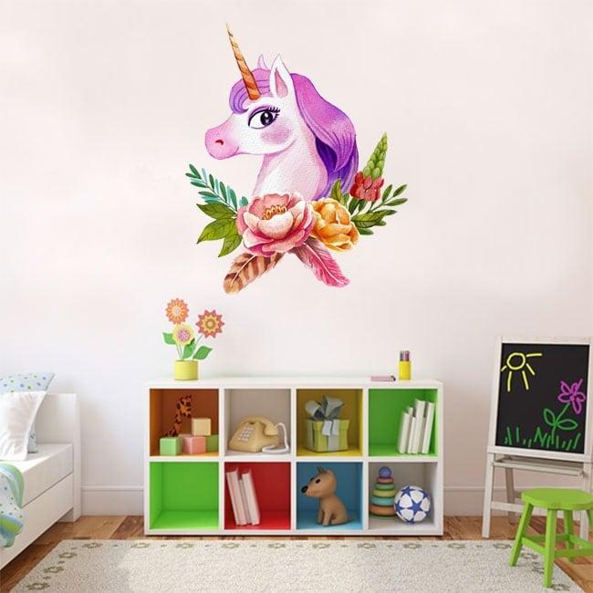 Vinile o adesivi unicorno dell'acquerello