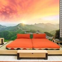 Murales tramonto sulla grande muraglia cinese
