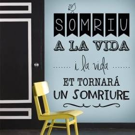 Vinile e adesivi frasi catalane somriu a la vida