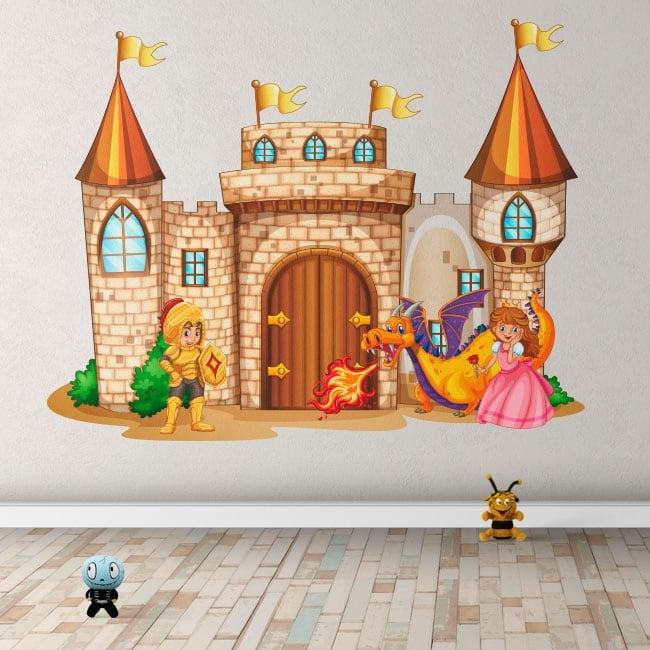 Adesivi in vinile castello con principessa e principe