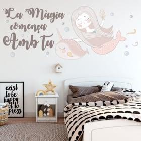 Adesivi e vinili frasi catalane la magia inizia con te