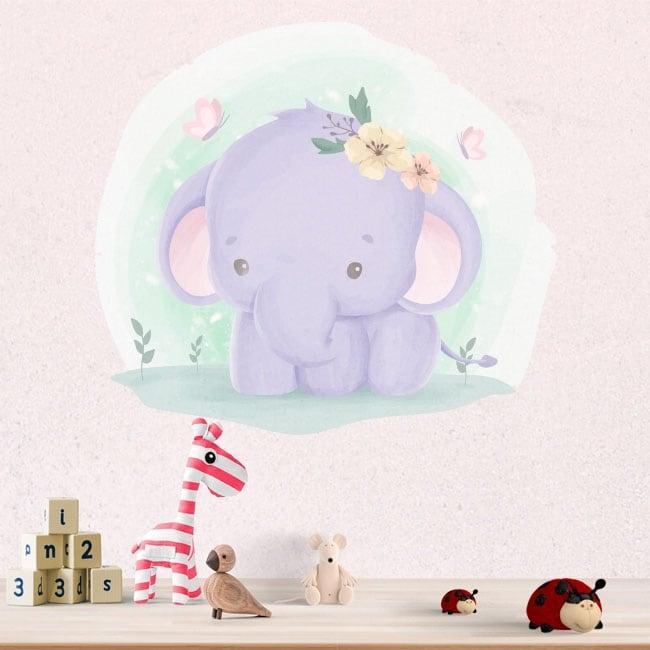 Adesivi in vinile per bambini elefante e farfalle