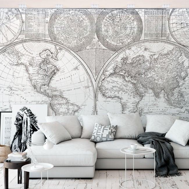 Murali in vinile mappa del mondo in bianco e nero