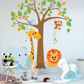 Vinili e adesivi per bambini albero con animali