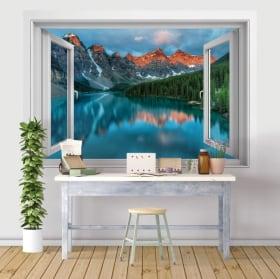 Vinile e adesivi finestre 3d lago e montagne dell'india