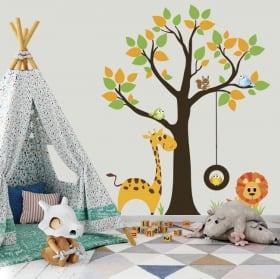 Vinile e adesivi albero con animali per bambini
