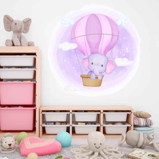Vinili e adesivi per bambini elefante in mongolfiera