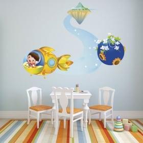 Vinile decorativo bambini e aereo