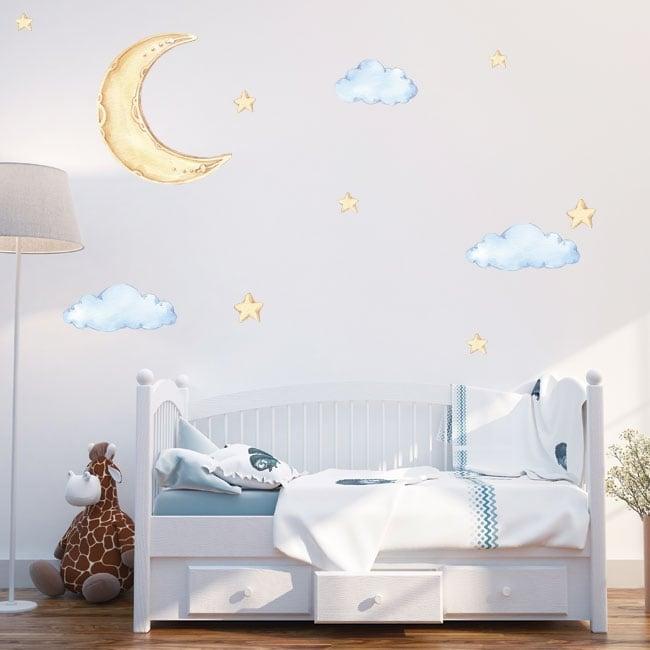 Vinili e adesivi per bambini luna nuvole e stelle