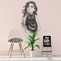 Vinile e adesivi silhouette donna con gufo