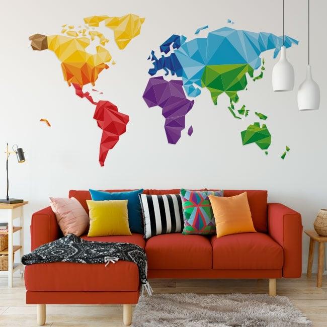 Vinile e adesivi mappa del mondo triangoli poligonali