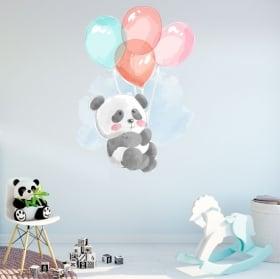 Vinili e adesivi per bambini orso panda con palloncini