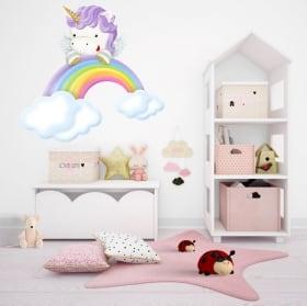 Adesivi in vinile per bambini unicorno e arcobaleno