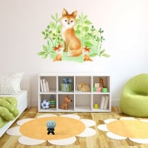 Adesivi in vinile effetto acquerello famiglia di volpi