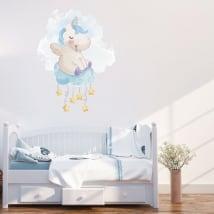 Vinile e adesivi unicorno sul cloud con le stelle