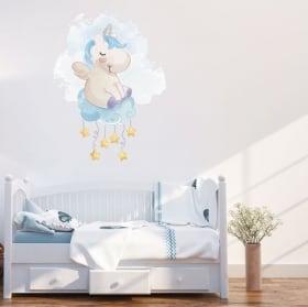 Adesivi e vinile per bambini unicorno nel cloud