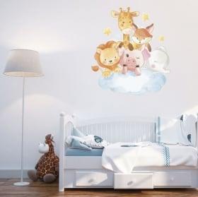 Vinile e adesivi per bambini animali nel cloud