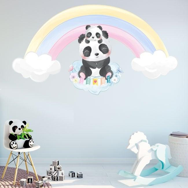 Adesivi in vinile per bambini orsi panda e arcobaleno