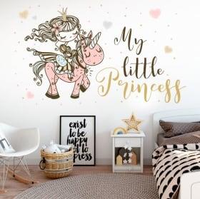 Vinile e adesivi per bambini principessa con unicorno