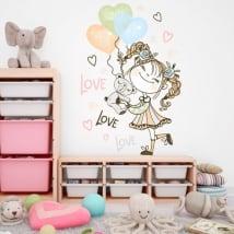Vinili e adesivi ragazza con palloncini e orsacchiotto
