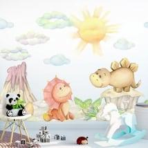 Vinili e adesivi paesaggio con dinosauri baby