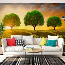 Murali in vinile alberi nel prato